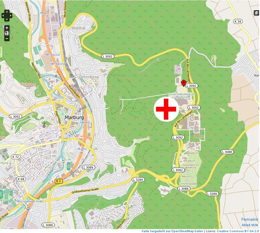 UKGM Gießen/Marburg - Lageplan/Anfahrt